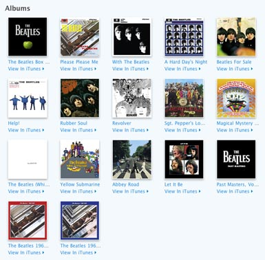 The Beatles album catalog on iTunes