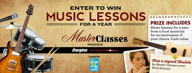 header Win Music Lessons For A Year! Enter the Energizer Master Classes Sweepstakes
