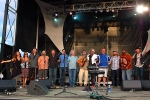 L-R: Bridget Law, Bonnie Paine, Andy Goessling, ?, Carey Harmon,  Cochrane McMillan, Tim Carbone, Larry Keel, Matt Butler, Larry Bevard, Reed Mathis, Roosevelt Collier, Trevor Garrod - 